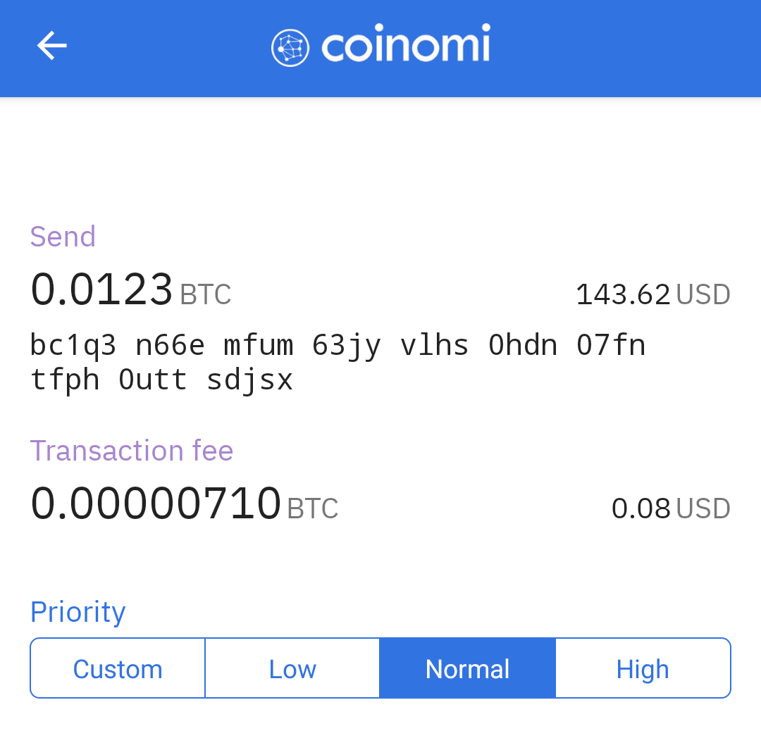 customize Bitcoin fee with Coinomi wallet