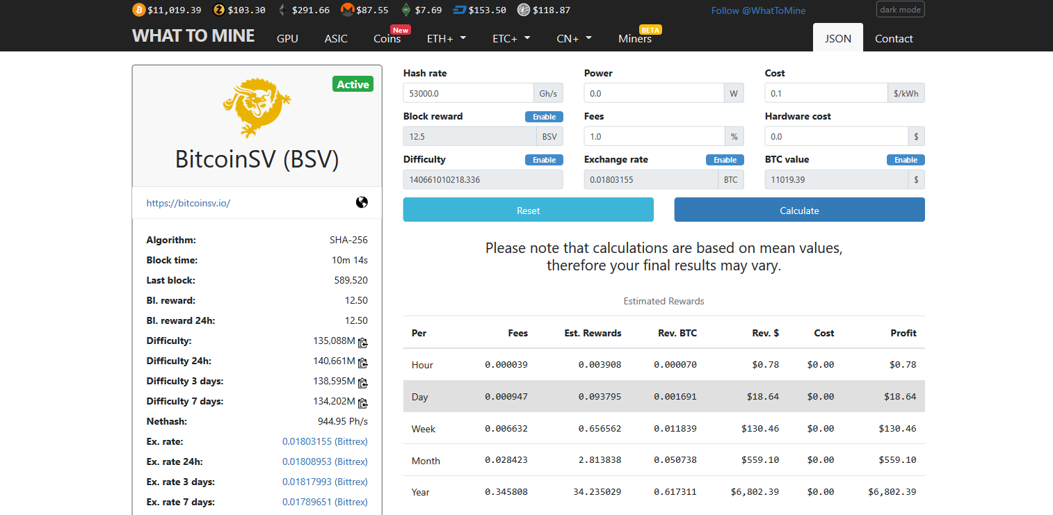 How Much Can I Make Cloud Mining Bitcoin SV (BSV)?
