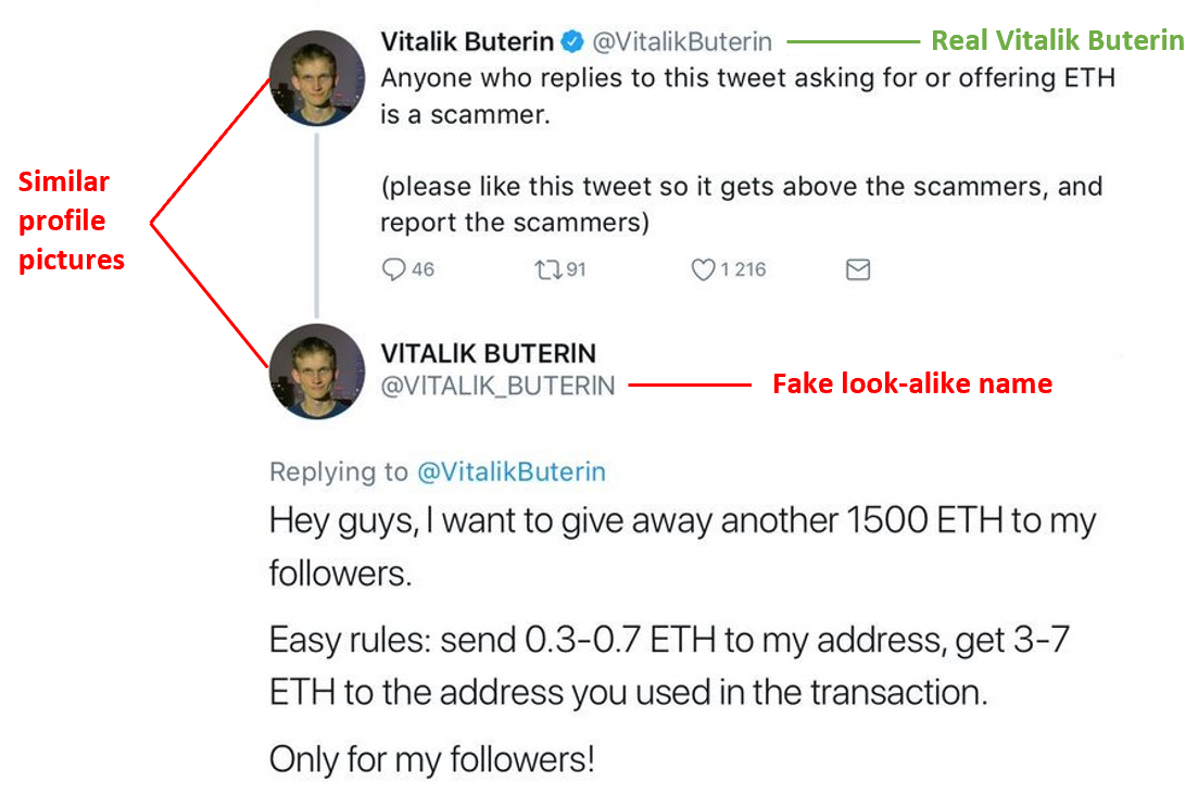 fake twitter account - Ethereum scam